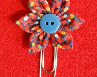 Red Flowers Fabric Flower Bookmark / Felt Paper Clip