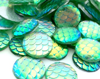 50pcs Green Mermaid Scale Disk - 12mm Wholesale Cabochons - DIY Jewelry Making - Nautical Findings - Flat Back Glue On Dragon Supplies A40