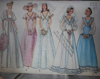 vintage Wedding Dress pattern c1974 size 12 Miss Simplicity 6399  Edwardian Style