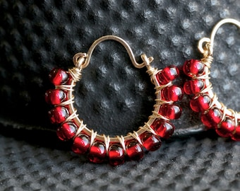 Red beaded hoop, Czech glass, wire wrapped, 14k gold filled, hoop earrings, red hoops, Mimi Michele jewelry