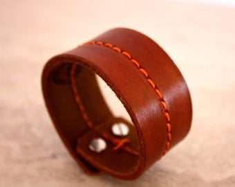 Women's Brown Leather Cuff Bracelet with Orange Stitching Down Center (Size 6.75 inches)