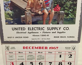 1969 Complete Calendar unused United Electric Supply Co salesman sample, boy and his dog fishing