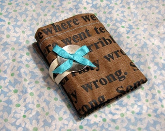 wallet, womens wallet, purse, travel wallet, woman pocket wallet, fabric wallet, girlfriend gift, gift for her, brown and blue, vibrant