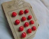 Czech Red Diminutive Glass Buttons
