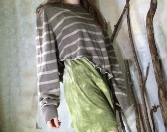 Striped Taupe Asymmetrical Half Sweater / Sweater Shrug / Crop Sweater