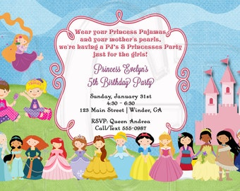 Princess Pajama Party Invite  -Digital File