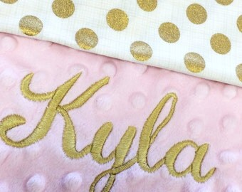 Gold Polka Dot Baby Blanket, Pink Gold Polkadot Cotton Baby Blanket, Personalized Baby blanket, Gold Polkadot Nursery