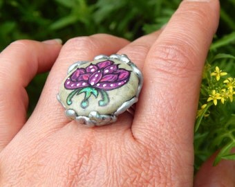 Purple Baby Dragon Egg Hand Painted Stone Mythical Creature