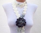 Crochet Scarf, crochet Lariat, Brooch Pin, Flower Lariat Scarf, crochet flower jewelry, white grey