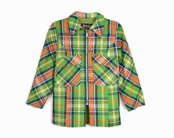 Vintage 60 Green Plaid Jacket / Vintage 1960s Plaid Raincoat