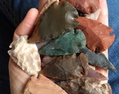 ARROWHEADS 25 Knapped Birdpoints Stone Arrow Heads for Jewelry Wire Wrapping or Mixed Media Crafts