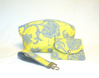 Women's Make-Up Bag, Wallet/Gift Card Holder/Key Fob Gift Set in Light Grey Floral Lace Pattern on Sunny Yellow