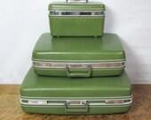 3 Piece Mid Century Avocado Green Luggage Set