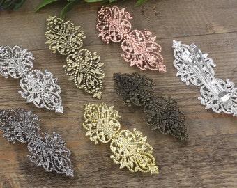10 Hair Barrettes- Brass Bronze/ Silver/ Gold/ Rose Gold/ White Gold/ Gun-Metal Plated 27x78mm Filigree Floral Barrette Base Setting- Z7389