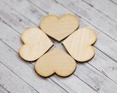 Wooden hearts, wood heart blanks, 2 inch hearts, Lasercut hearts, Wedding supplies, DIY wedding, heart decors, Set of 5 BIG hearts