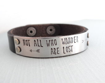 Women's Leather Bracelet. Not All Who Wander Are Lost,  Hand Stamped Black Leather Bracelet. Stainless Steel Plate. Ready to Ship.