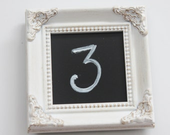 Mini VINTAGE STYLE FRAME White Distressed Placecard Table Number Menu Label Frame Chalkboard Insert or Photo Miniature Ornate