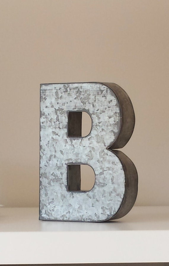 6 large metal letter zinc steel initial home room decor diy for Homemade wall letters
