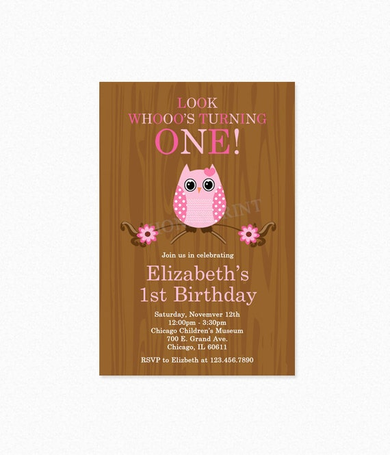 Owl Birthday Party Invitation, Girl, Pink, Owl Party Invitation, Look Whoo's, Personalized, Printable