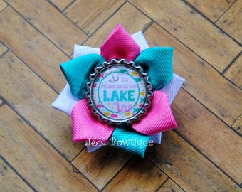 I'd rather be at the Lake....Small ribbon flower hair bow...summer vacation...Fishing