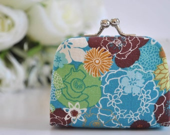 Garden Collage in Turquoise - Tiny Kiss lock Coin Purse/Jewelry holder