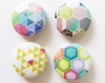 Set of Four 25mm Button Badges - Geo Set