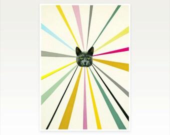 Cat Art, Striped Collage Print, Modern Art, Colourful Decor - Cat's Eyes