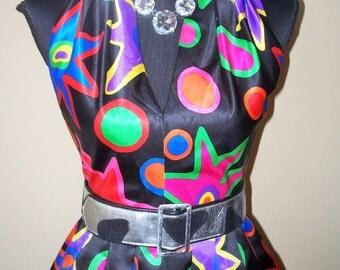 Vintage 1980s A.J. Bari Colorful 100% Silk Dress Sz 4