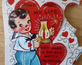 Vintage 50s Valentines Day unused 3 Cards w/ Envelopes / punch out / Glitter