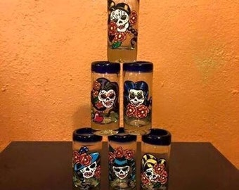 Handpainted Mexican shot glasses