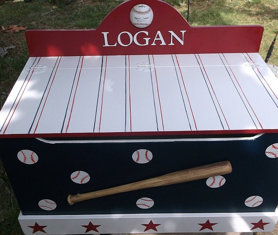 Large New Wooden Storage Box Diy Crates Toy Boxes Set: Baseball Benches Toy Boxes Sports Themed Toy Chest By