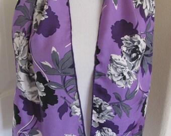 "Bill Blass // Lovely Black Purple Floral Soft Silk Scarf // 11"" x 52"" Long"