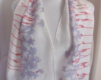 "Anne Klein // Ladies White Floral Soft Silk Scarf // 13"" x 42"" Long"