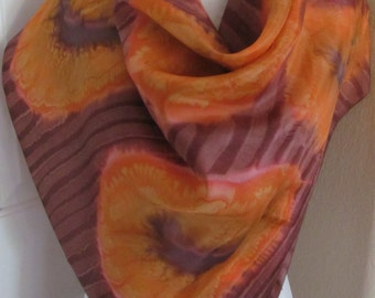 "Remoy d'Urville Paris // Large Hand Painted Dyed Orange Silk Scarf // 36"" 92cm Square // Best of the Best"