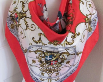 "Lovely White Red Soft Silk Scarf  // 31"" Inch 78cm Square // Best of the Best"
