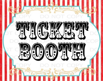"Printable DIY Vintage Circus Ticket Booth Table sign - 8.5"" x 11"" & A4 INSTANT DOWNLOAD"