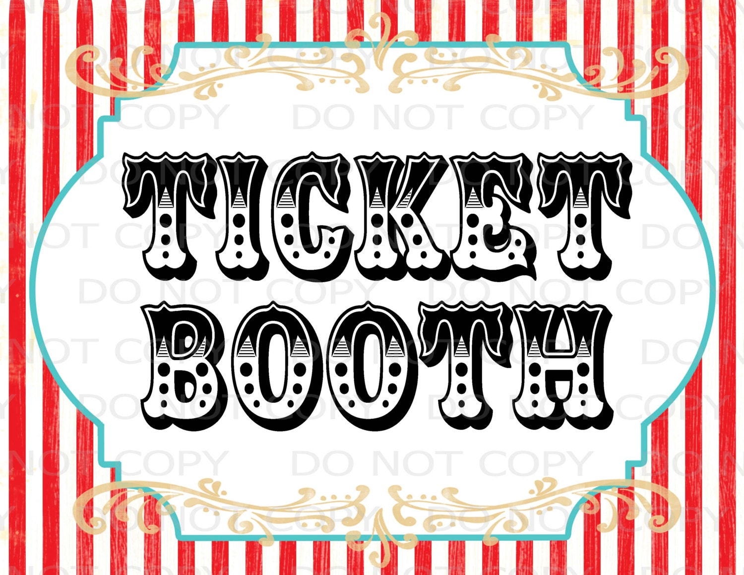 Printable DIY Vintage Circus Ticket Booth Table sign