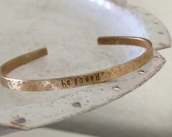 Personalized Gold Brass Cuff Bracelet,  Custom Cuff Bracelet, Gold Phrase Bracelet, Graduation Gift, Brass Cuff, Gold Cuff, Mantra Band
