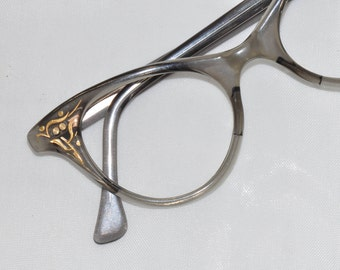 Vintage Cat Eye Glasses, Smaller Size, Pale Gray with Gold Etching, 1950s, 1960s