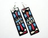 Long and Lean Handpainted Custom Shaped Modern Flower Blossom Earrings in Lavender, Coral and Pink