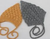Pixie Baby Bonnet. Mustard Baby Bonnet. Hand Knit Winter Baby Bonnet. Reversible Baby Hat. Alpaca Baby Bonnet.