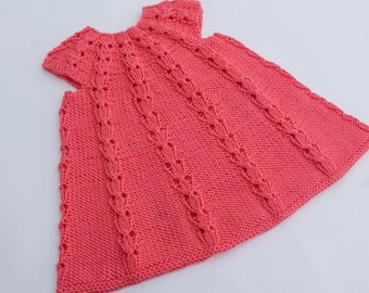 Bright Pink Baby Girl Lace Dress. Hand Knit Baby Dress. Summer Baby Gress. Cotton Baby Girl Dress. 0-6 months
