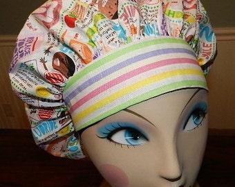Dentist / Braces  Banded Bouffant Surgical Cap by Nurseheadwear Bakers Cap