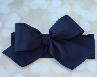 Solid Navy Head Wrap in Premium Designer Woven Cotton - Baby Head Wrap - Headband - Turban - Toddler Head Wrap - Newborn Photo Prop