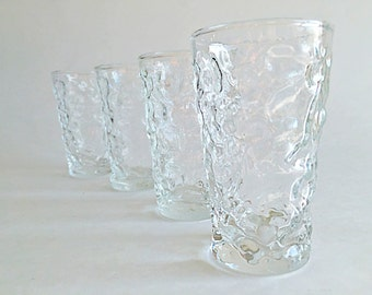 Clear Crinkle Glass Juice Glasses Vintage Fostoria Milano / Lido Tumblers Mid Century Glassware