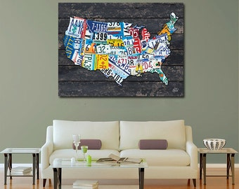 PRINT or GICLEE Reproduction -- License Plate Map PRINT Limited Edition Signed Artwork - Rustic Art