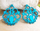 WP13 / # 9 Aqua Blue / Filigree Wood Circle Pairs for Earring / Cold Color Laser Cut  Circle Wooden Charm /Pendant /Wood earring drop