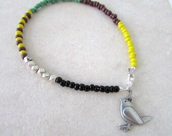 Bird Anklet, Beaded Anklet, Friendship Anklet, Multi Colored Anklet, Custom Anklet, Spring Summer Accessories, Free US Shippiing