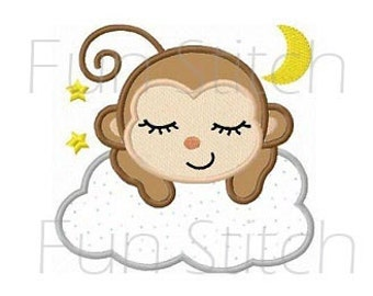 Sleeping monkey applique machine embroidery design