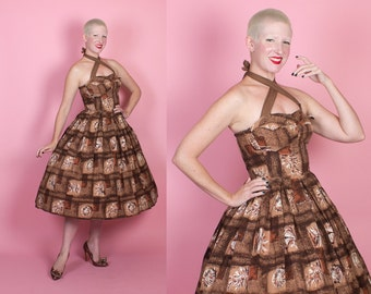 EXOTIC 1950s New Look Hawaiian Cotton Halter Sun Dress w Elastic Ruching, 3D Winged Shelf Bust, Seashell Novelty Print by Desmond's - XS / S